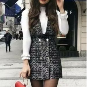NWT ZARA Pinafore Dress Faux Tweed Size M Blogger